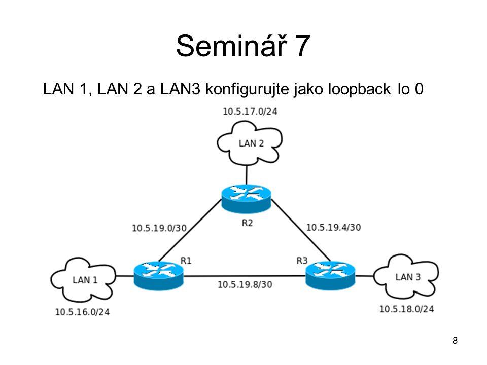 8 Seminář 7 LAN 1, LAN 2 a LAN3 konfigurujte jako loopback lo 0