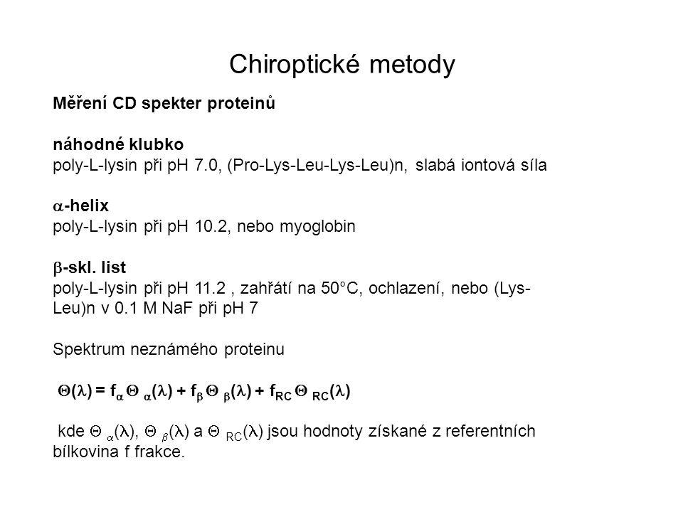 Chiroptické metody Měření CD spekter proteinů náhodné klubko poly-L-lysin při pH 7.0, (Pro-Lys-Leu-Lys-Leu)n, slabá iontová síla  -helix poly-L-lysin
