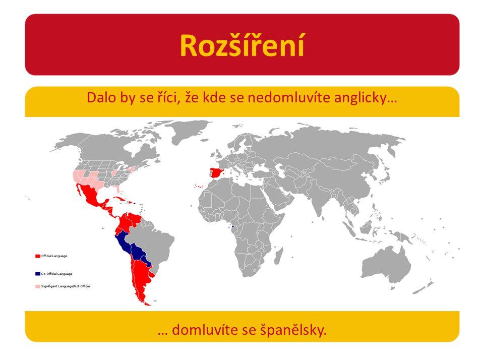 Rozšíření Dalo by se říci, že kde se nedomluvíte anglicky… … domluvíte se španělsky.