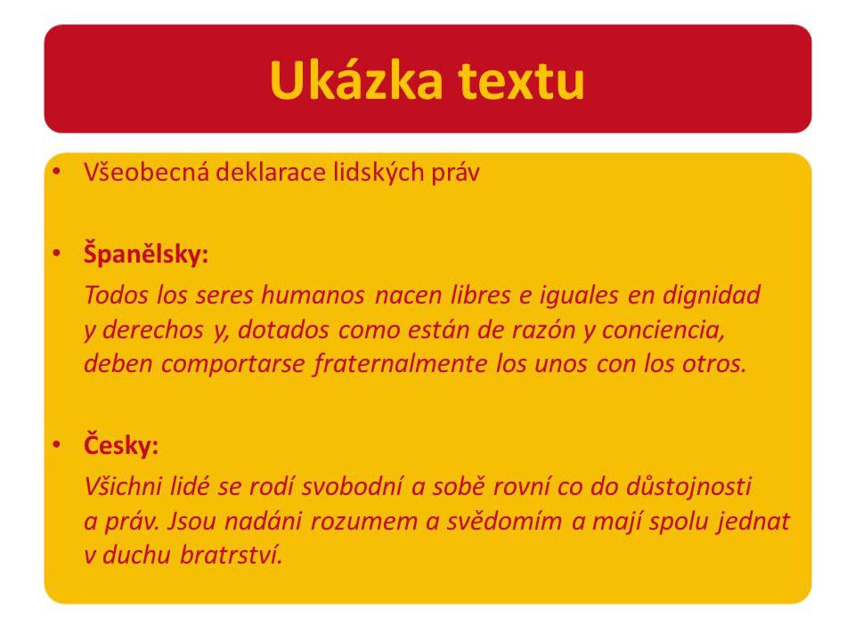 Všeobecná deklarace lidských práv Španělsky: Todos los seres humanos nacen libres e iguales en dignidad y derechos y, dotados como están de razón y conciencia, deben comportarse fraternalmente los unos con los otros.
