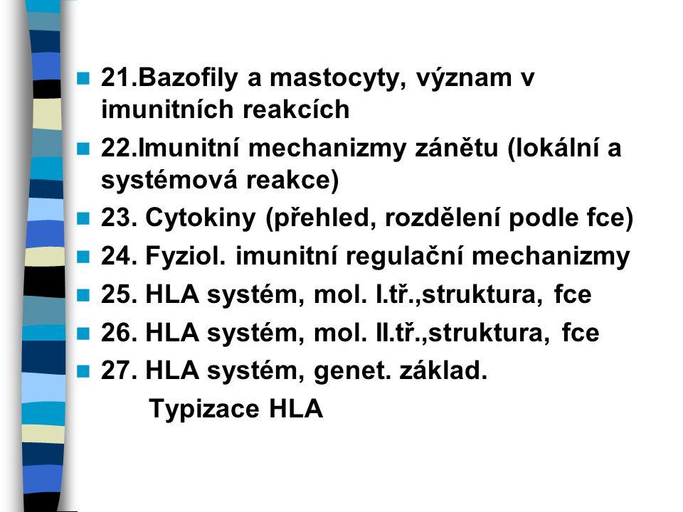21.Bazofily a mastocyty, význam v imunitních reakcích 22.Imunitní mechanizmy zánětu (lokální a systémová reakce) 23. Cytokiny (přehled, rozdělení podl