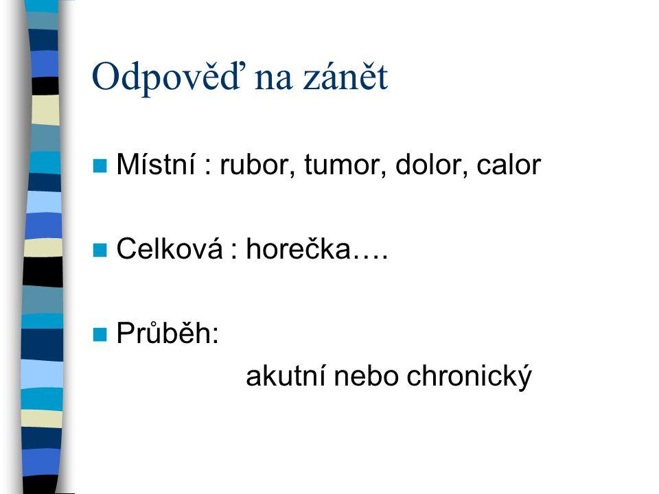 Odpověď na zánět Místní : rubor, tumor, dolor, calor Celková : horečka…. Průběh: akutní nebo chronický