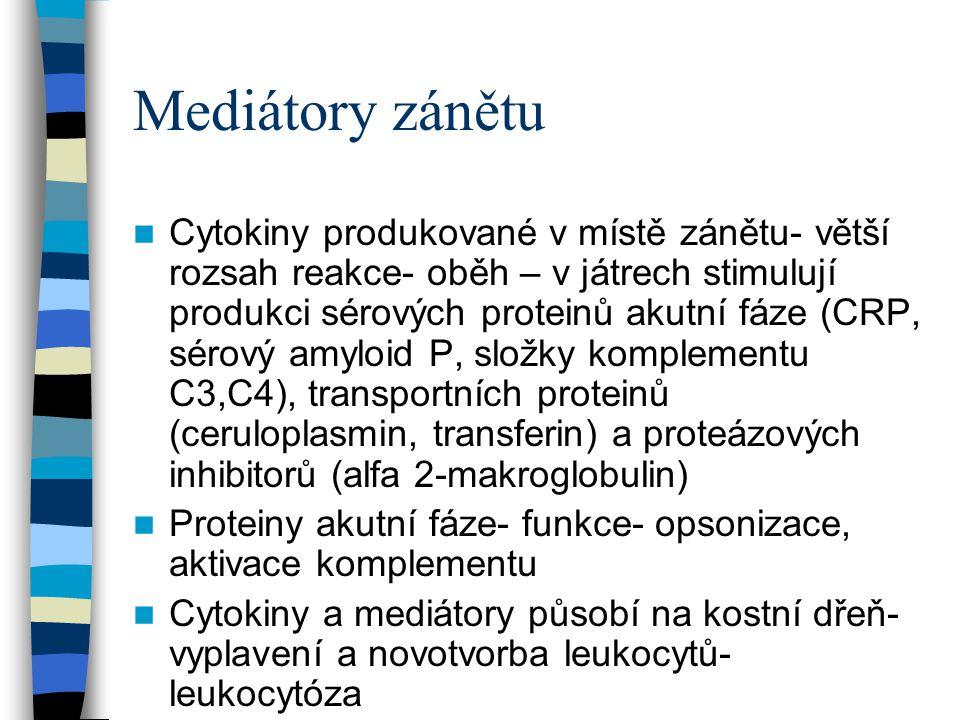 Mediátory zánětu Cytokiny produkované v místě zánětu- větší rozsah reakce- oběh – v játrech stimulují produkci sérových proteinů akutní fáze (CRP, sér