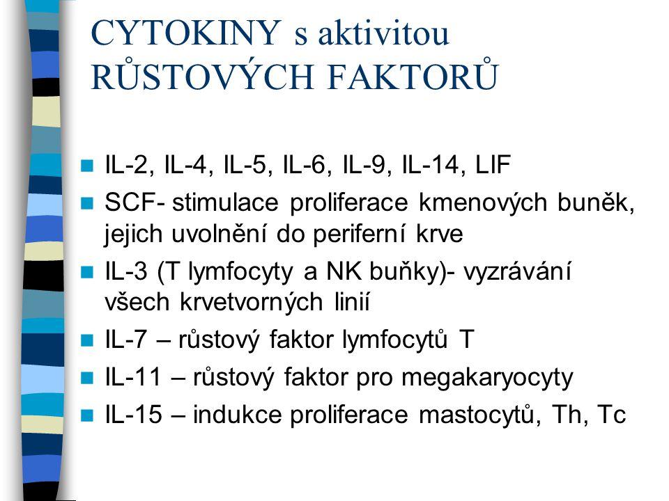 CYTOKINY s aktivitou RŮSTOVÝCH FAKTORŮ IL-2, IL-4, IL-5, IL-6, IL-9, IL-14, LIF SCF- stimulace proliferace kmenových buněk, jejich uvolnění do perifer