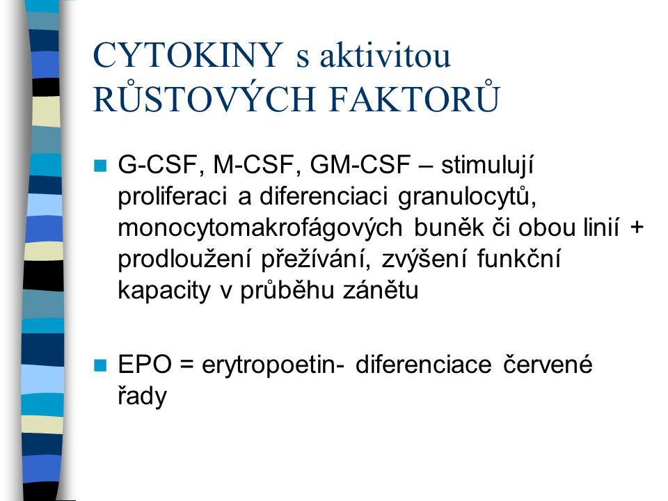 CYTOKINY s aktivitou RŮSTOVÝCH FAKTORŮ G-CSF, M-CSF, GM-CSF – stimulují proliferaci a diferenciaci granulocytů, monocytomakrofágových buněk či obou li