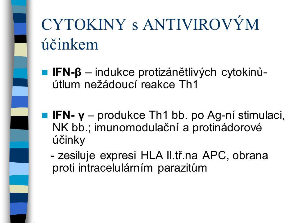 CYTOKINY s ANTIVIROVÝM účinkem IFN-β – indukce protizánětlivých cytokinů- útlum nežádoucí reakce Th1 IFN- γ – produkce Th1 bb. po Ag-ní stimulaci, NK
