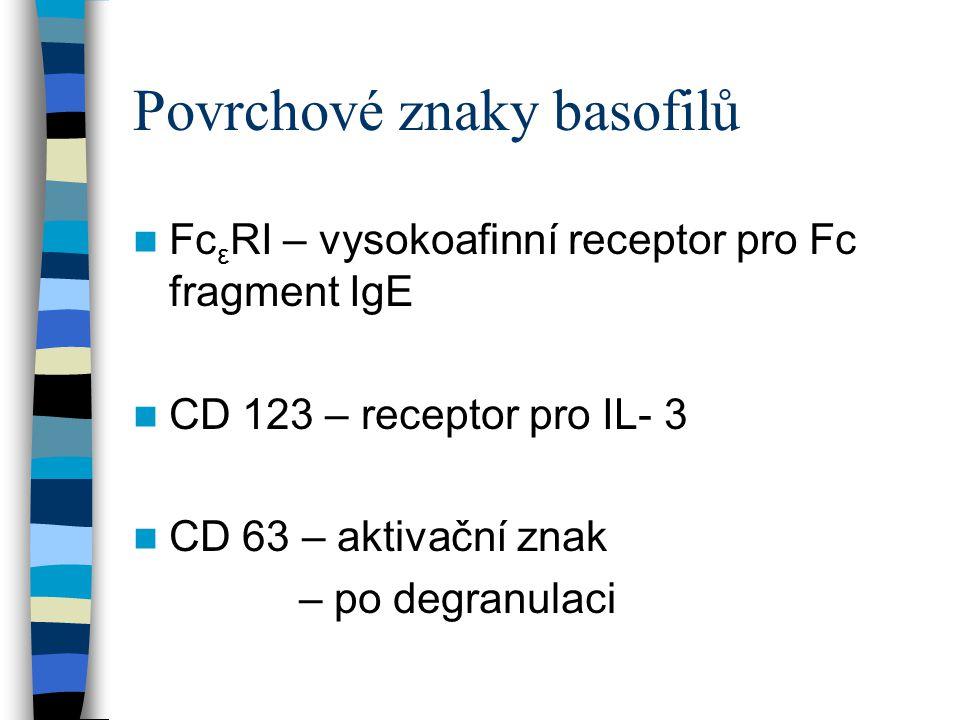 Povrchové znaky basofilů Fc ε RI – vysokoafinní receptor pro Fc fragment IgE CD 123 – receptor pro IL- 3 CD 63 – aktivační znak – po degranulaci