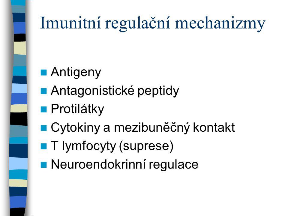 Imunitní regulační mechanizmy Antigeny Antagonistické peptidy Protilátky Cytokiny a mezibuněčný kontakt T lymfocyty (suprese) Neuroendokrinní regulace