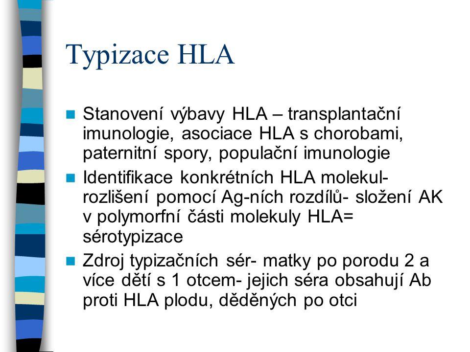 Typizace HLA Stanovení výbavy HLA – transplantační imunologie, asociace HLA s chorobami, paternitní spory, populační imunologie Identifikace konkrétní