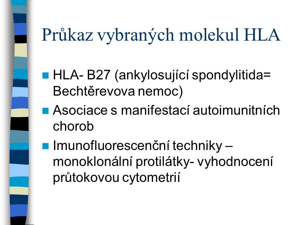 Průkaz vybraných molekul HLA HLA- B27 (ankylosující spondylitida= Bechtěrevova nemoc) Asociace s manifestací autoimunitních chorob Imunofluorescenční