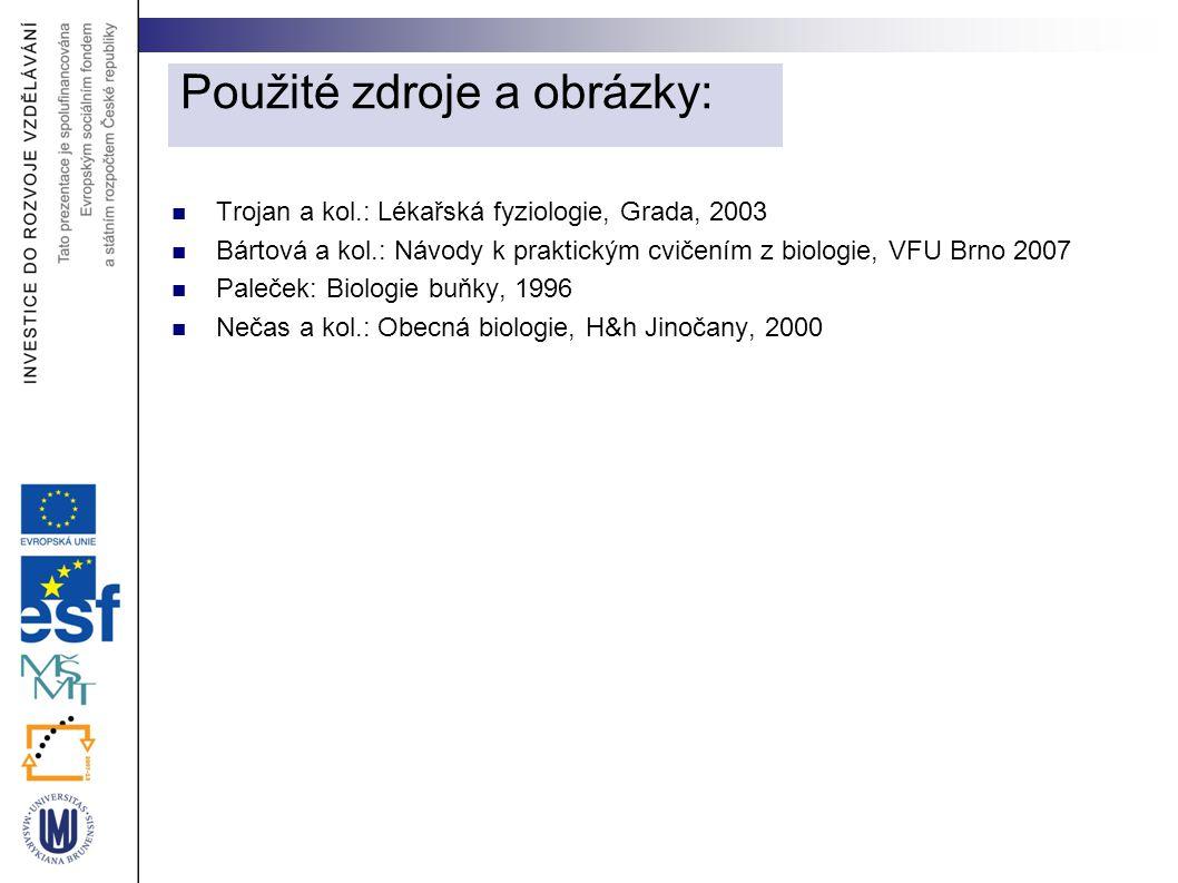 Trojan a kol.: Lékařská fyziologie, Grada, 2003 Bártová a kol.: Návody k praktickým cvičením z biologie, VFU Brno 2007 Paleček: Biologie buňky, 1996 N