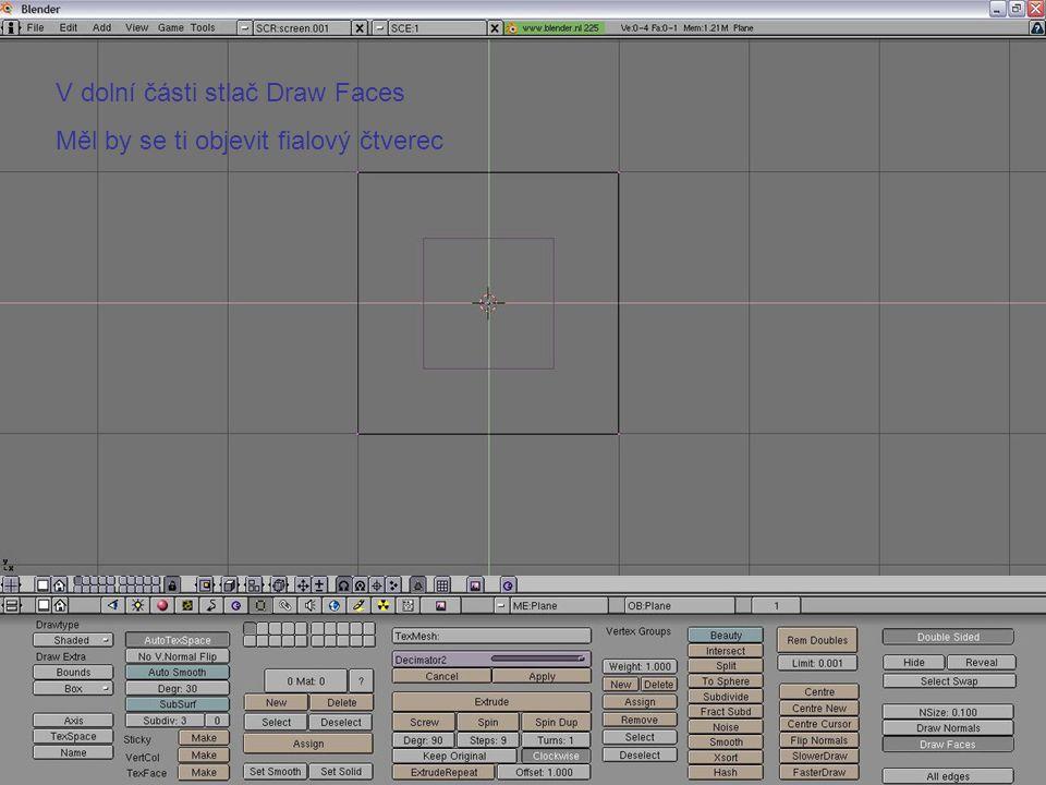 V dolní části stlač Draw Faces Měl by se ti objevit fialový čtverec