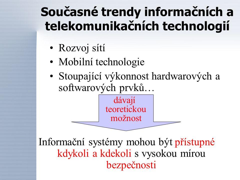Rozvoj sítí Mobilní technologie Stoupající výkonnost hardwarových a softwarových prvků… Současné trendy informačních a telekomunikačních technologií dávají teoretickou možnost Informační systémy mohou být přístupné kdykoli a kdekoli s vysokou mírou bezpečnosti