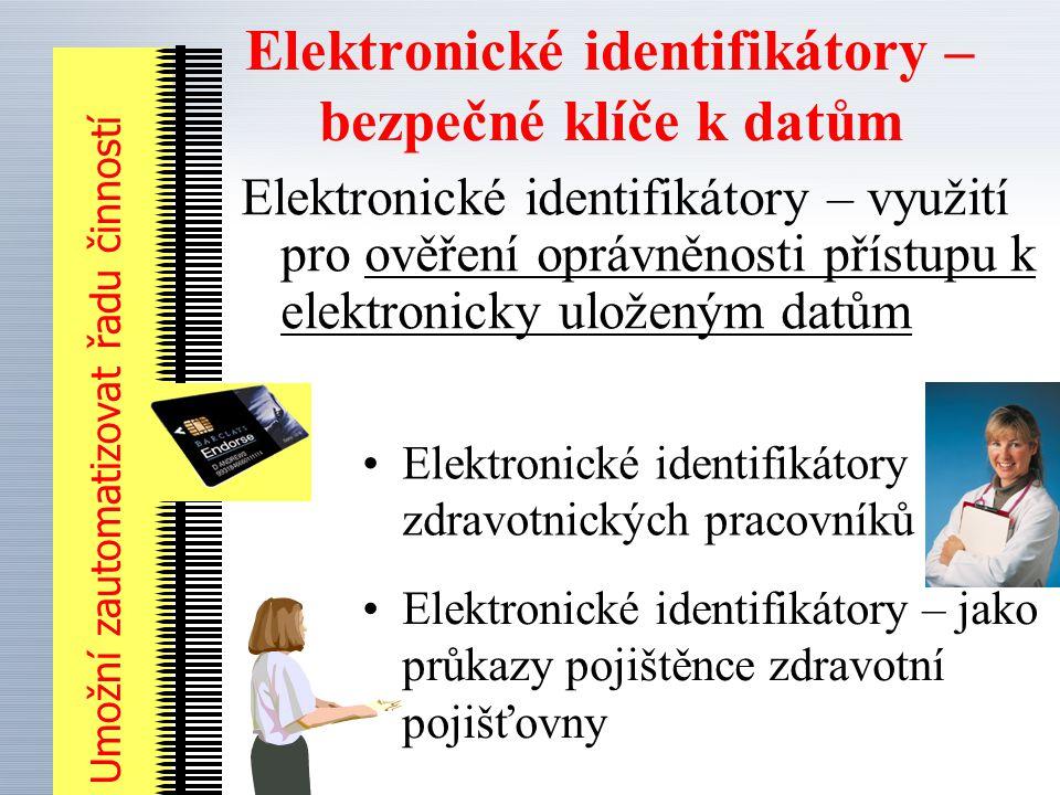 Elektronické identifikátory – bezpečné klíče k datům Elektronické identifikátory – využití pro ověření oprávněnosti přístupu k elektronicky uloženým datům Elektronické identifikátory zdravotnických pracovníků Umožní zautomatizovat řadu činností Elektronické identifikátory – jako průkazy pojištěnce zdravotní pojišťovny