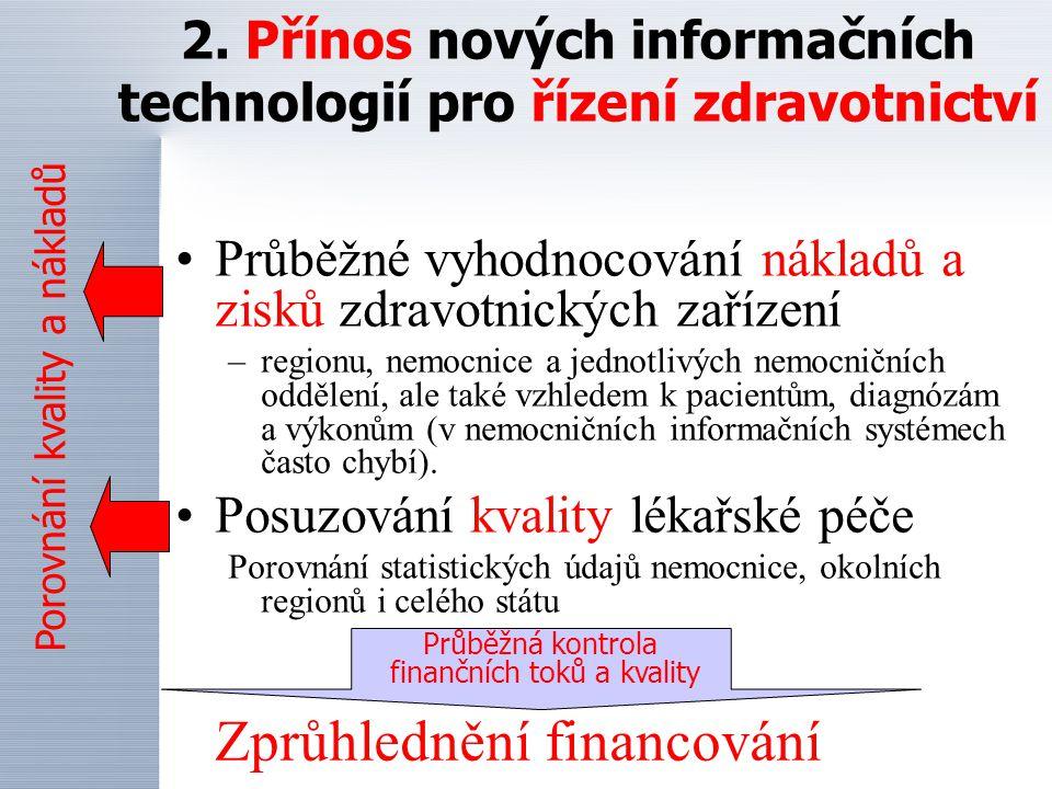 2. Přínos nových informačních technologií pro řízení zdravotnictví Průběžné vyhodnocování nákladů a zisků zdravotnických zařízení –regionu, nemocnice