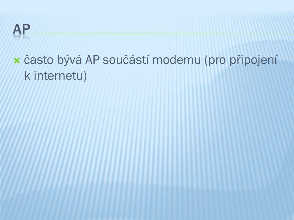  často bývá AP součástí modemu (pro připojení k internetu)