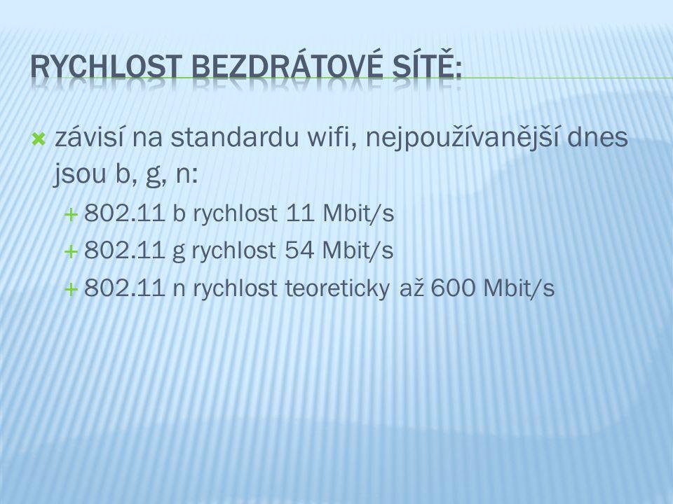  závisí na standardu wifi, nejpoužívanější dnes jsou b, g, n:  802.11 b rychlost 11 Mbit/s  802.11 g rychlost 54 Mbit/s  802.11 n rychlost teoreti