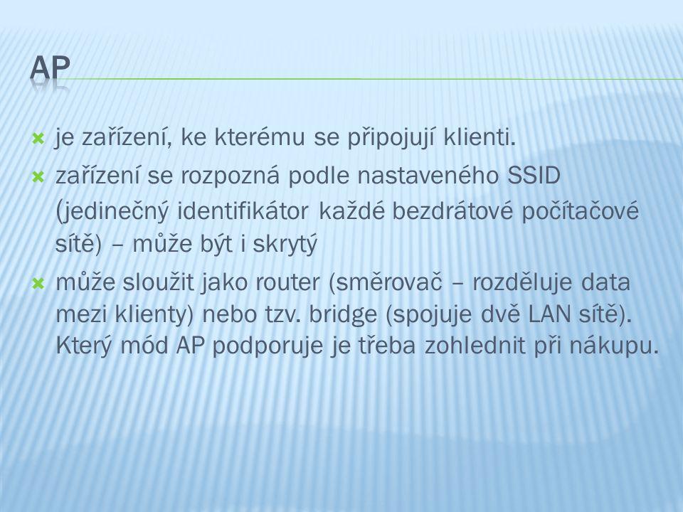 je zařízení, ke kterému se připojují klienti.  zařízení se rozpozná podle nastaveného SSID ( jedinečný identifikátor každé bezdrátové počítačové sí