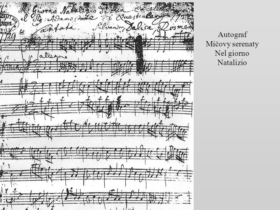 Autograf Míčovy serenaty Nel giorno Natalizio