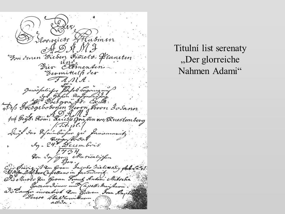 """Titulní list serenaty """"Der glorreiche Nahmen Adami"""
