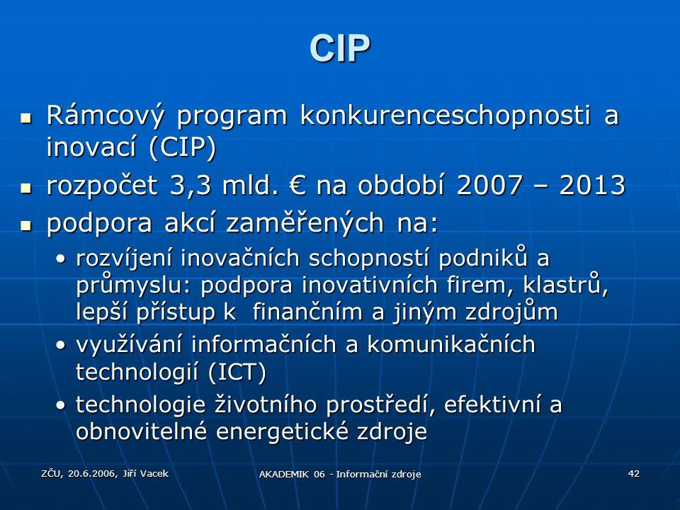 ZČU, 20.6.2006, Jiří Vacek AKADEMIK 06 - Informační zdroje 42 CIP Rámcový program konkurenceschopnosti a inovací (CIP) Rámcový program konkurenceschop
