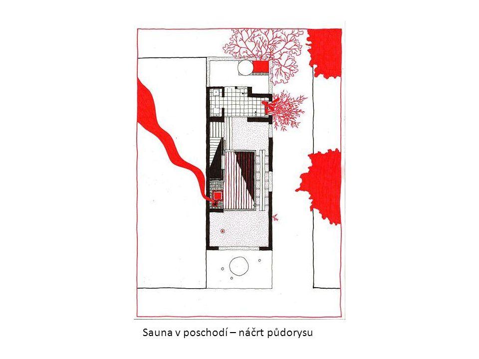 Sauna v poschodí – náčrt půdorysu