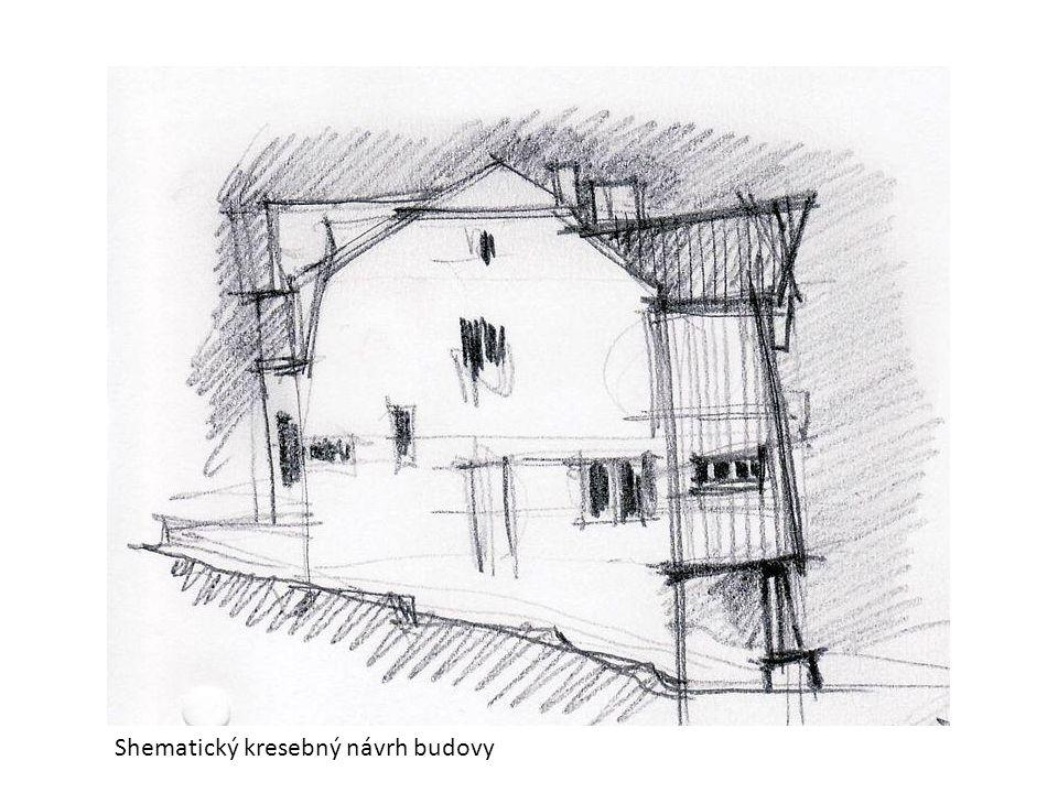 Shematický kresebný návrh budovy