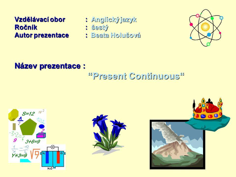 Vzdělávací obor: Anglický jazyk Ročník : šestý Autor prezentace: Beata Holušová Název prezentace : Present Continuous