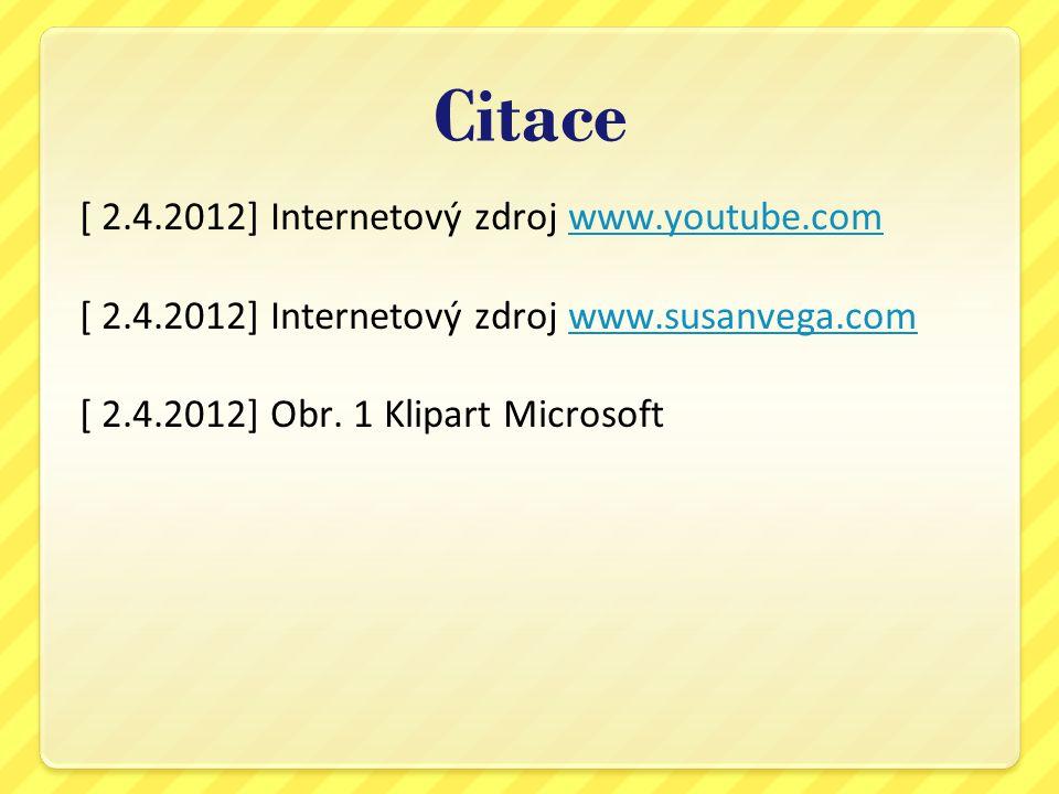 Citace [ 2.4.2012] Internetový zdroj www.youtube.comwww.youtube.com [ 2.4.2012] Internetový zdroj www.susanvega.comwww.susanvega.com [ 2.4.2012] Obr.