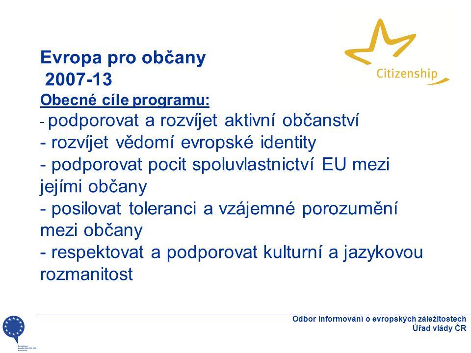 Evropa pro občany 2007-13 Obecné cíle programu: - podporovat a rozvíjet aktivní občanství - rozvíjet vědomí evropské identity - podporovat pocit spolu