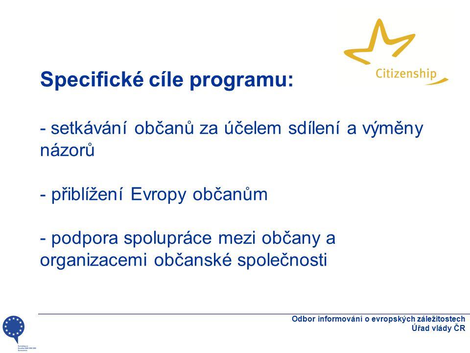 Specifické cíle programu: - setkávání občanů za účelem sdílení a výměny názorů - přiblížení Evropy občanům - podpora spolupráce mezi občany a organiza