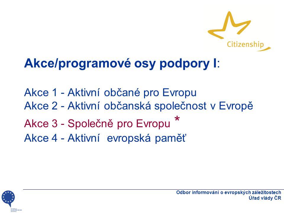 Akce/programové osy podpory I: Akce 1 - Aktivní občané pro Evropu Akce 2 - Aktivní občanská společnost v Evropě Akce 3 - Společně pro Evropu * Akce 4