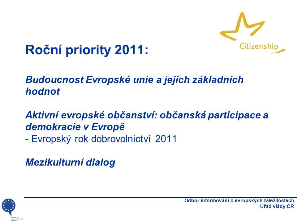 Roční priority 2011: Budoucnost Evropské unie a jejích základních hodnot Aktivní evropské občanství: občanská participace a demokracie v Evropě - Evropský rok dobrovolnictví 2011 Mezikulturní dialog Odbor informování o evropských záležitostech Úřad vlády ČR