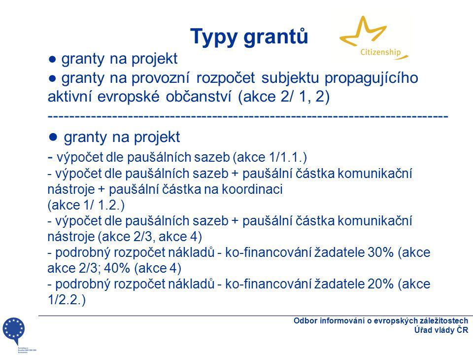 Odbor informování o evropských záležitostech Úřad vlády ČR Typy grantů ● granty na projekt ● granty na provozní rozpočet subjektu propagujícího aktivní evropské občanství (akce 2/ 1, 2) ---------------------------------------------------------------------------- ● granty na projekt - výpočet dle paušálních sazeb (akce 1/1.1.) - výpočet dle paušálních sazeb + paušální částka komunikační nástroje + paušální částka na koordinaci (akce 1/ 1.2.) - výpočet dle paušálních sazeb + paušální částka komunikační nástroje (akce 2/3, akce 4) - podrobný rozpočet nákladů - ko-financování žadatele 30% (akce akce 2/3; 40% (akce 4) - podrobný rozpočet nákladů - ko-financování žadatele 20% (akce 1/2.2.)
