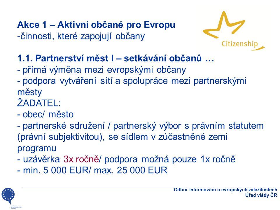 Odbor informování o evropských záležitostech Úřad vlády ČR Akce 1 – Aktivní občané pro Evropu -činnosti, které zapojují občany 1.1. Partnerství měst I