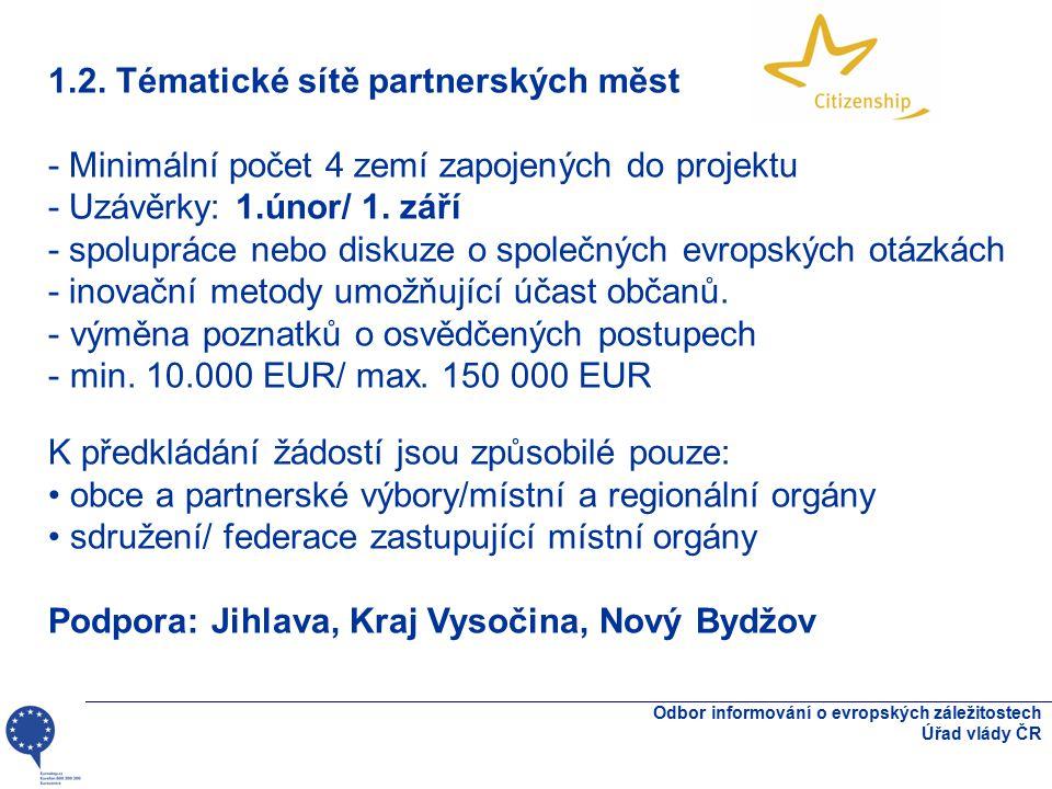 Odbor informování o evropských záležitostech Úřad vlády ČR 1.2. Tématické sítě partnerských měst - Minimální počet 4 zemí zapojených do projektu - Uzá