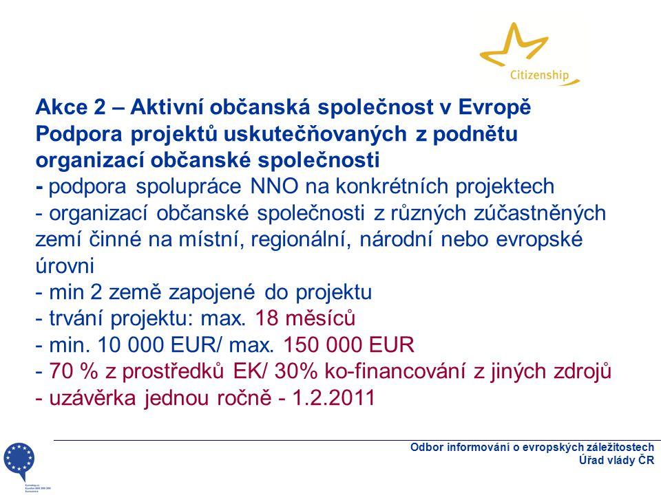 Odbor informování o evropských záležitostech Úřad vlády ČR Akce 2 – Aktivní občanská společnost v Evropě Podpora projektů uskutečňovaných z podnětu or