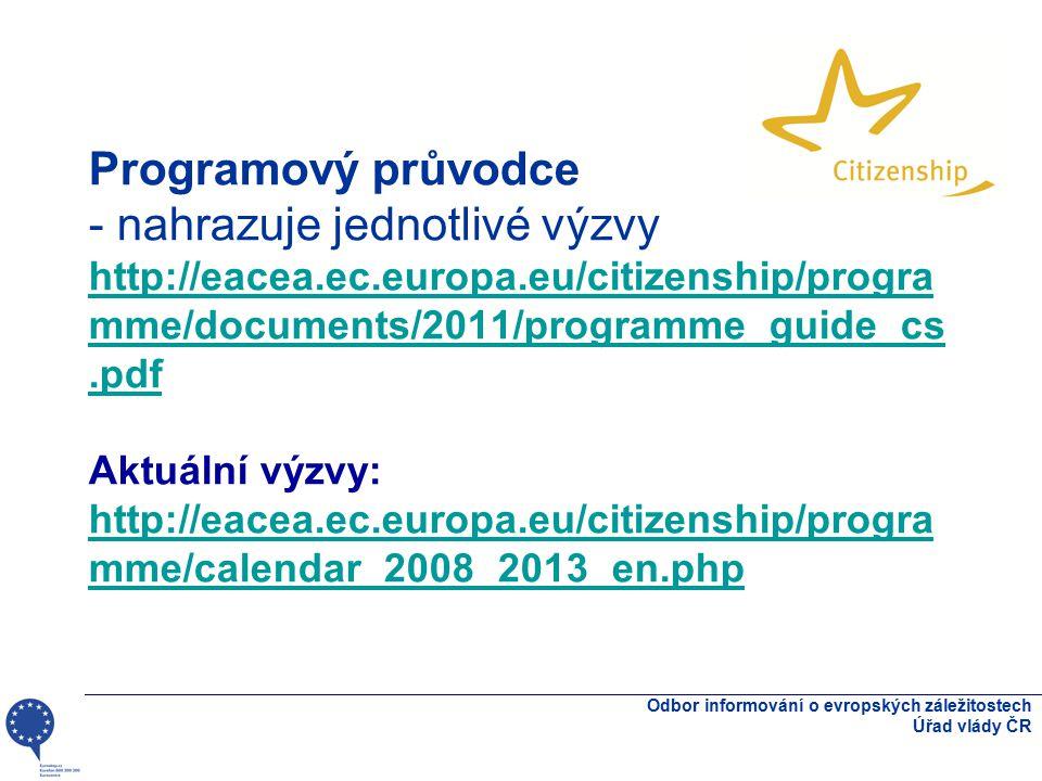 Programový průvodce - nahrazuje jednotlivé výzvy http://eacea.ec.europa.eu/citizenship/progra mme/documents/2011/programme_guide_cs.pdf Aktuální výzvy: http://eacea.ec.europa.eu/citizenship/progra mme/calendar_2008_2013_en.php http://eacea.ec.europa.eu/citizenship/progra mme/documents/2011/programme_guide_cs.pdf http://eacea.ec.europa.eu/citizenship/progra mme/calendar_2008_2013_en.php Odbor informování o evropských záležitostech Úřad vlády ČR