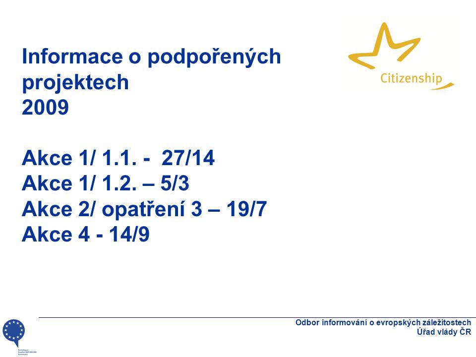 Informace o podpořených projektech 2009 Akce 1/ 1.1. - 27/14 Akce 1/ 1.2. – 5/3 Akce 2/ opatření 3 – 19/7 Akce 4 - 14/9 Odbor informování o evropských