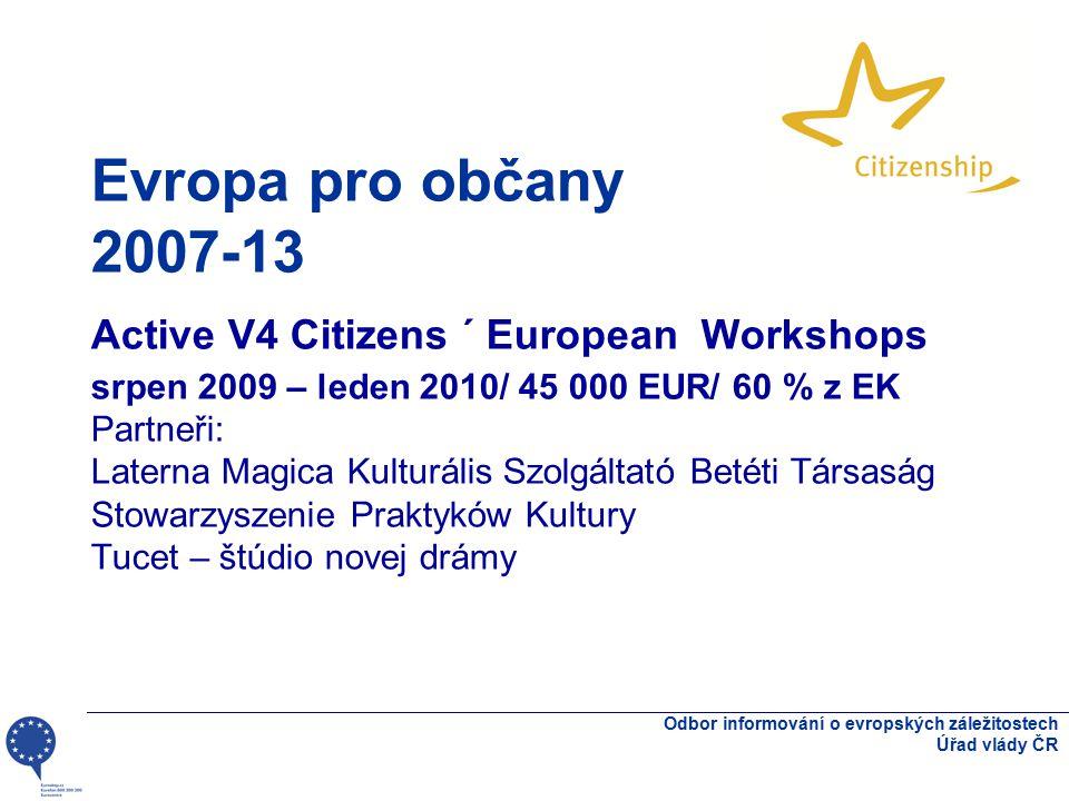 Evropa pro občany 2007-13 Active V4 Citizens ´ European Workshops srpen 2009 – leden 2010/ 45 000 EUR/ 60 % z EK Partneři: Laterna Magica Kulturális S