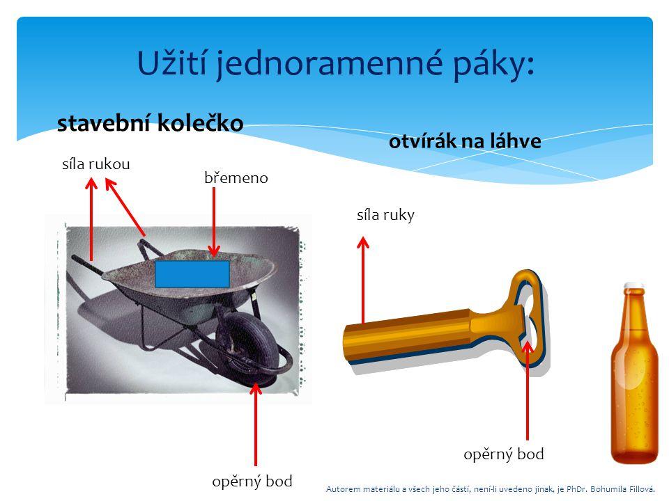 Užití jednoramenné páky: stavební kolečko otvírák na láhve síla rukou břemeno opěrný bod síla ruky opěrný bod Autorem materiálu a všech jeho částí, ne