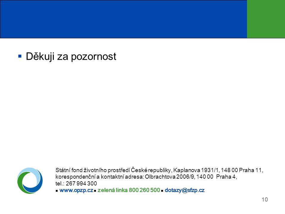 10  Děkuji za pozornost Státní fond životního prostředí České republiky, Kaplanova 1931/1, 148 00 Praha 11, korespondenční a kontaktní adresa: Olbrachtova 2006/9, 140 00 Praha 4, tel.: 267 994 300 www.opzp.cz zelená linka 800 260 500 dotazy@sfzp.cz