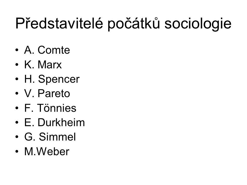 Představitelé počátků sociologie A. Comte K. Marx H.
