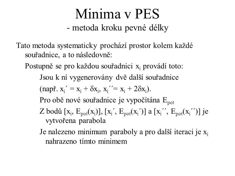 Minima v PES - metoda kroku pevné délky Tato metoda systematicky prochází prostor kolem každé souřadnice, a to následovně: Postupně se pro každou souřadnici x i provádí toto: Jsou k ní vygenerovány dvě další souřadnice (např.