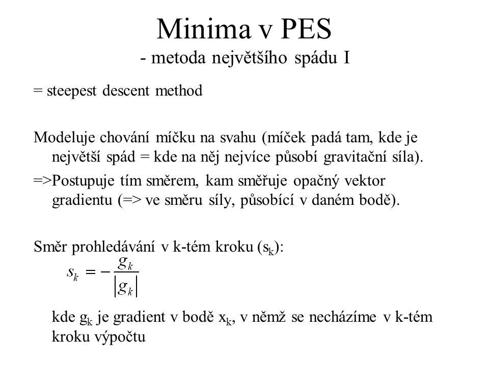 Minima v PES - metoda největšího spádu I = steepest descent method Modeluje chování míčku na svahu (míček padá tam, kde je největší spád = kde na něj nejvíce působí gravitační síla).