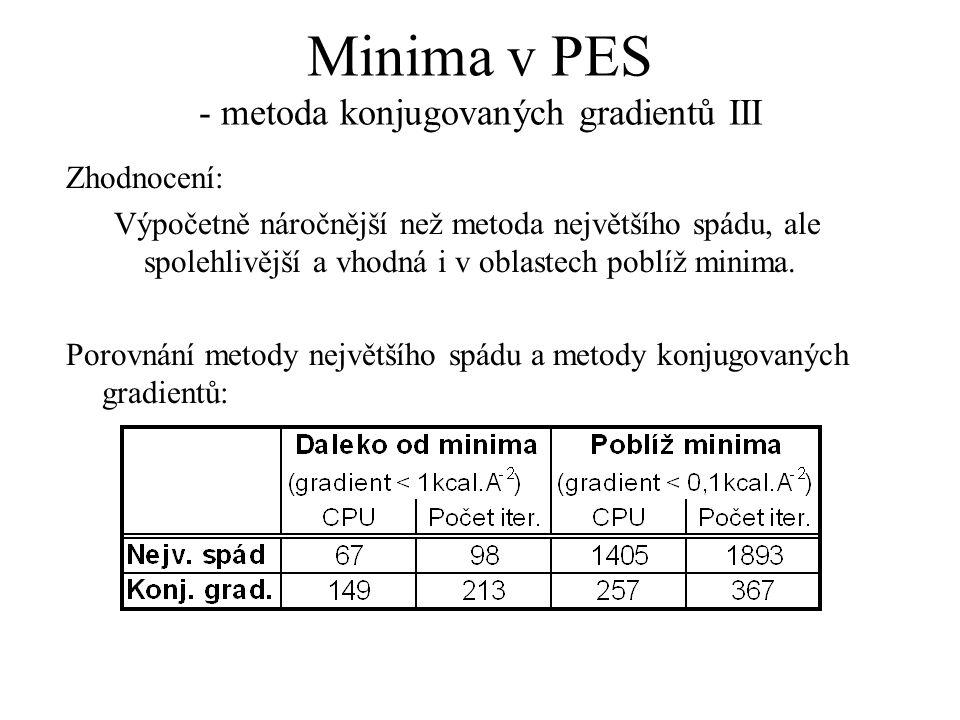 Minima v PES - metoda konjugovaných gradientů III Zhodnocení: Výpočetně náročnější než metoda největšího spádu, ale spolehlivější a vhodná i v oblastech poblíž minima.