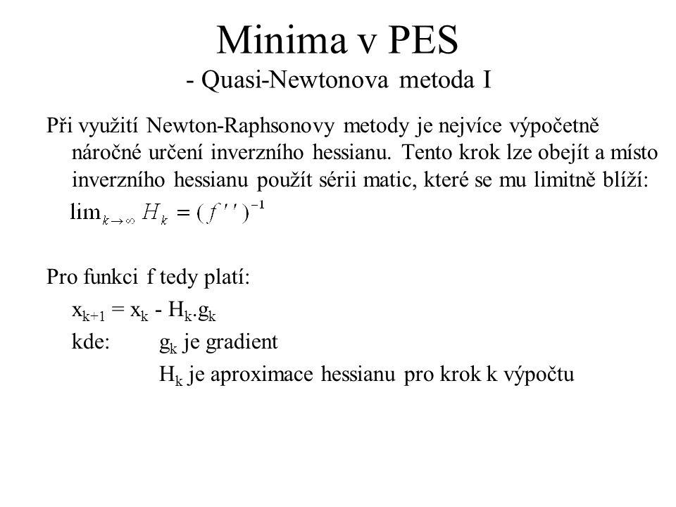 Minima v PES - Quasi-Newtonova metoda I Při využití Newton-Raphsonovy metody je nejvíce výpočetně náročné určení inverzního hessianu.