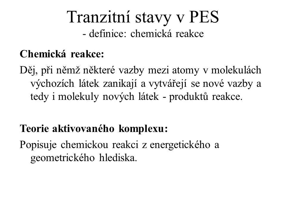 Tranzitní stavy v PES - definice: chemická reakce Chemická reakce: Děj, při němž některé vazby mezi atomy v molekulách výchozích látek zanikají a vytvářejí se nové vazby a tedy i molekuly nových látek - produktů reakce.