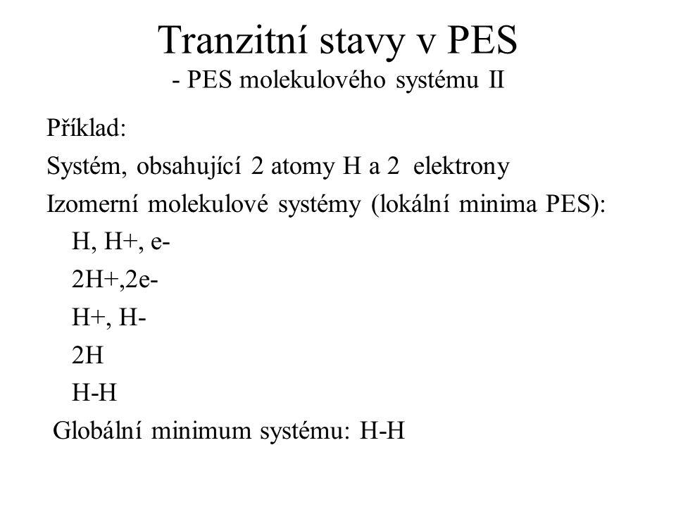 Tranzitní stavy v PES - PES molekulového systému II Příklad: Systém, obsahující 2 atomy H a 2 elektrony Izomerní molekulové systémy (lokální minima PES): H, H+, e- 2H+,2e- H+, H- 2H H-H Globální minimum systému: H-H