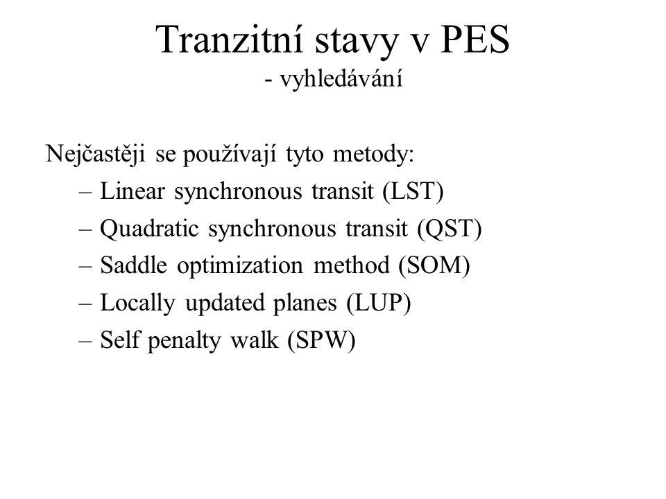 Tranzitní stavy v PES - vyhledávání Nejčastěji se používají tyto metody: –Linear synchronous transit (LST) –Quadratic synchronous transit (QST) –Saddle optimization method (SOM) –Locally updated planes (LUP) –Self penalty walk (SPW)